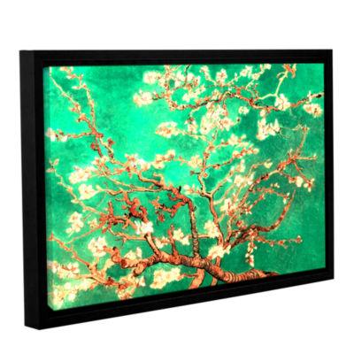 Brushstone Almond Blossom-Interpretation in Emerald Green Gallery Wrapped Floater-Framed Canvas WallArt
