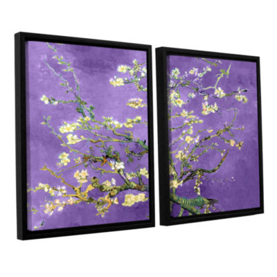 Brushstone Almond Blossom-Interpretation in Iris Purple 2-pc. Floater Framed Canvas Wall Art