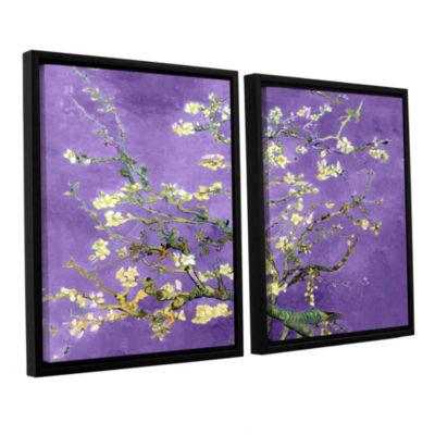 Brushstone Almond Blossom-Interpretation in Iris Purple 2-pc.Floater Framed Canvas Wall Art