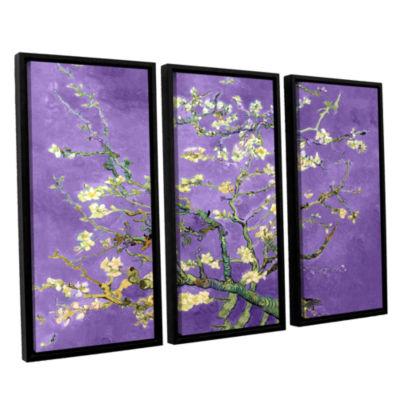 Brushstone Almond Blossom-Interpretation in Iris Purple 3-pc.Floater Framed Canvas Wall Art