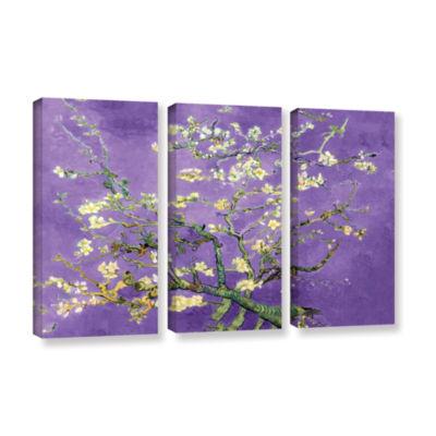 Brushstone Almond Blossom-Interpretation in Iris Purple 3-pc. Gallery Wrapped Canvas Wall Art