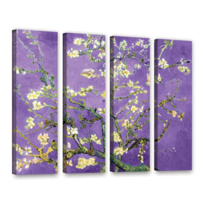 Brushstone Almond Blossom-Interpretation in Iris Purple 4-pc.Gallery Wrapped Canvas Wall Art