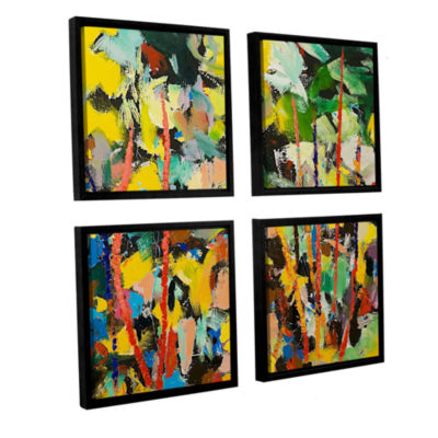 Brushstone Airglow 4-pc. Square Floater Framed Canvas