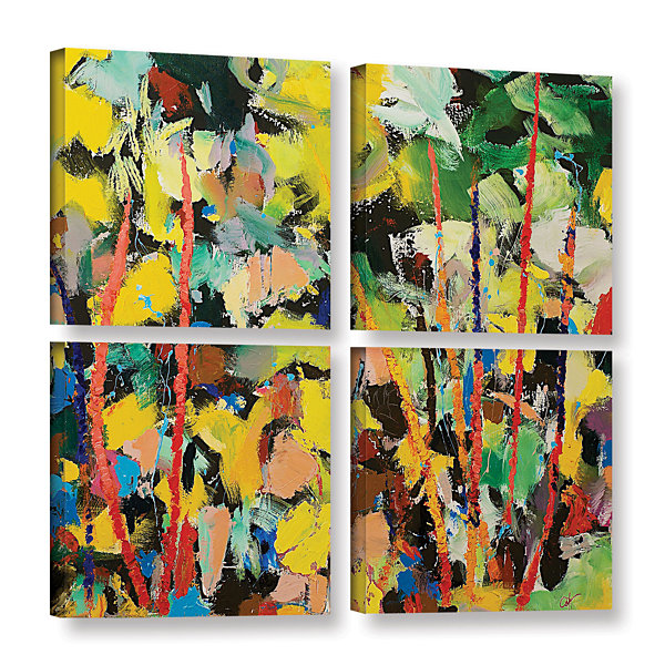 Brushstone Airglow 4-pc. Square Gallery Wrapped Canvas