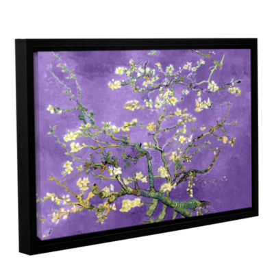 Brushstone Almond Blossom-Interpretation in Iris Purple Gallery Wrapped Floater-Framed Canvas Wall Art