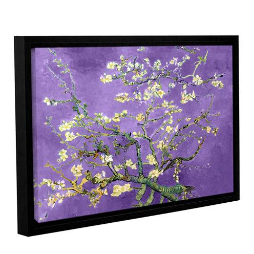 Almond Blossom-Interpretation in Iris Purple Gallery Wrapped Floater-Framed Canvas Wall Art