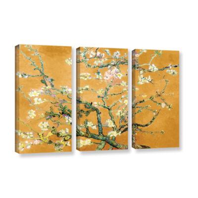 Brushstone Almond Blossom-Interpretation in Merigold Orange 3-pc. Gallery Wrapped Canvas Wall Art