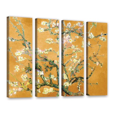 Almond Blossom-Interpretation in Merigold Orange 4-pc. Gallery Wrapped Canvas Wall Art