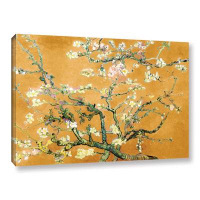 Brushstone Almond Blossom-Interpretation in Merigold Orange Gallery Wrapped Canvas Wall Art