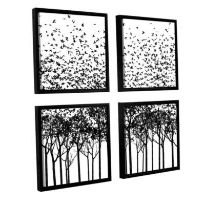 Brushstone Aki Monochrome 4-pc. Square Floater Framed Canvas