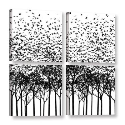 Brushstone Aki Monochrome 4-pc. Square Gallery Wrapped Canvas