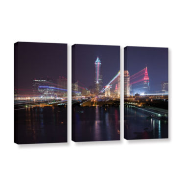 Brushstone Cleveland Skyline 14 3-pc. Gallery Wrapped Canvas Wall Art