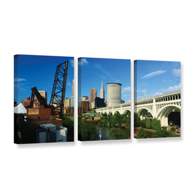 Brushstone Cleveland 11 3-pc. Gallery Wrapped Canvas Wall Art