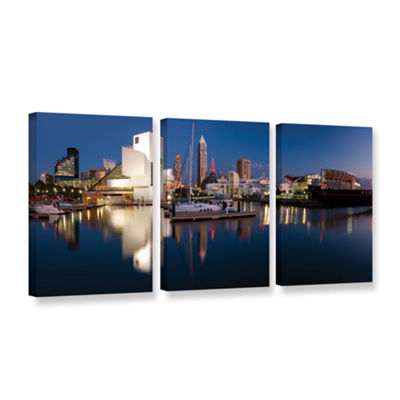 Brushstone Cleveland Skyline 2 3-pc. Gallery Wrapped Canvas Wall Art