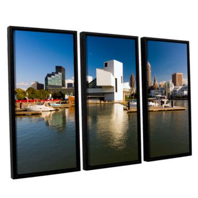 Brushstone Cleveland Skyline 5 3-pc. Floater Framed Canvas Wall Art