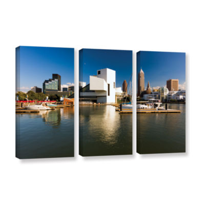 Brushstone Cleveland Skyline 5 3-pc. Gallery Wrapped Canvas Wall Art