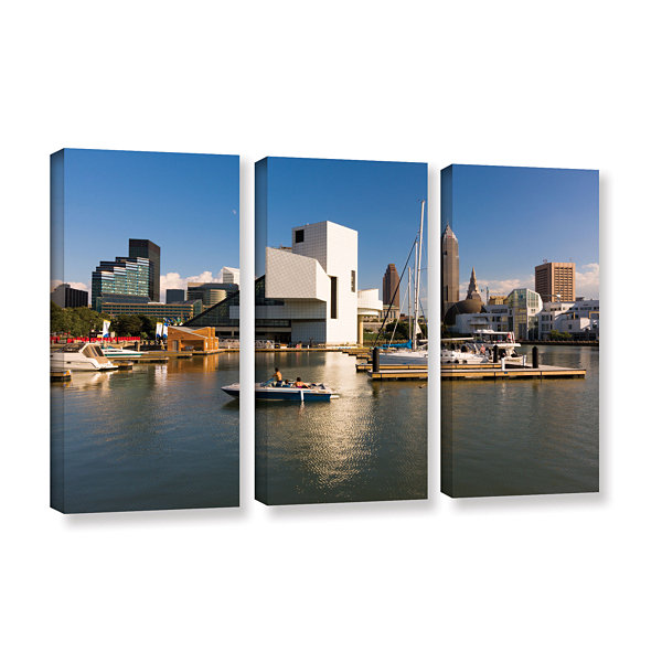 Brushstone Cleveland Skyline 7 3-pc. Gallery Wrapped Canvas Wall Art