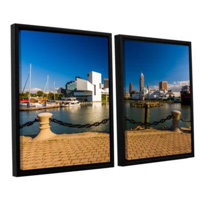 Brushstone Cleveland Skyline 8 2-pc. Floater Framed Canvas Wall Art