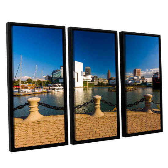 Brushstone Cleveland Skyline 8 3-pc. Floater Framed Canvas Wall Art