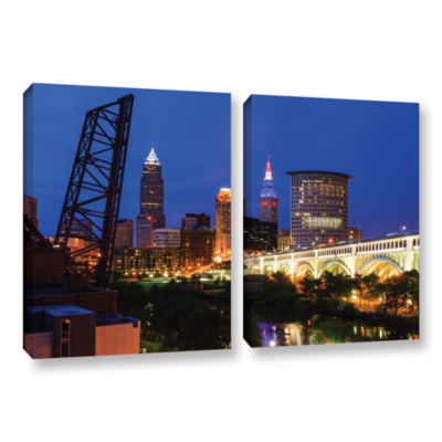 Brushstone Cleveland 21 2-pc. Gallery Wrapped Canvas Wall Art