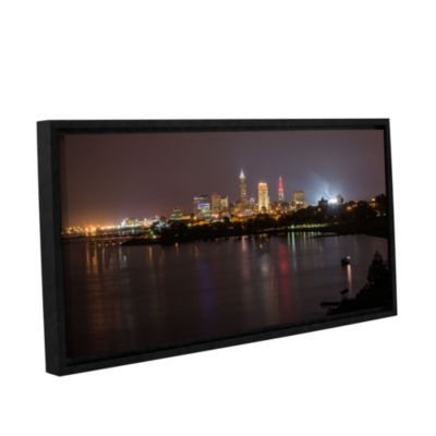 Brushstone Cleveland Skyline 9 Gallery Wrapped Floater-Framed Canvas Wall Art