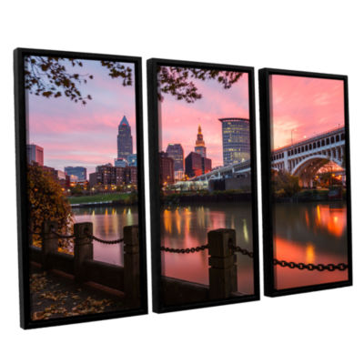 Brushstone Cleveland Sunrise From The Flats 3-pc.Floater Framed Canvas Wall Art