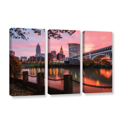 Brushstone Cleveland Sunrise From The Flats 3-pc.Gallery Wrapped Canvas Wall Art