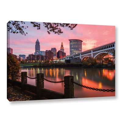 Brushstone Cleveland Sunrise From The Flats Gallery Wrapped Canvas Wall Art