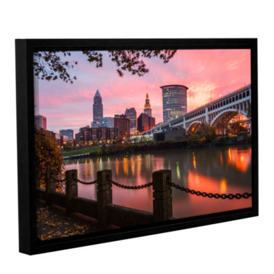 Brushstone Cleveland Sunrise From The Flats Gallery Wrapped Floater-Framed Canvas Wall Art