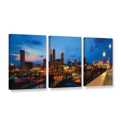 Brushstone Cleveland 8 3-pc. Gallery Wrapped Canvas Wall Art