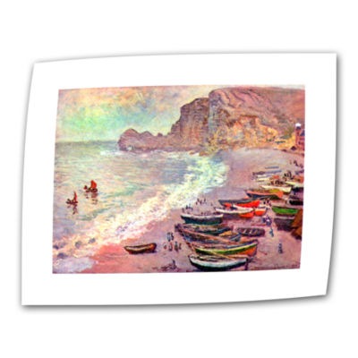 Brushstone Cliffside Boats Canvas Wall Art