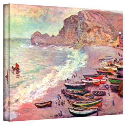Brushstone Cliffside Boats Gallery Wrapped CanvasWall Art