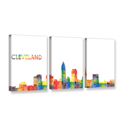 Brushstone Cleveland (Checkered) 3-pc. Gallery Wrapped Canvas Wall Art