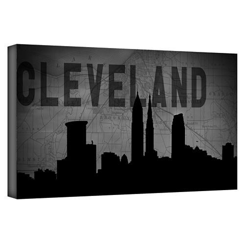 Brushstone Cleveland (Map) Gallery Wrapped CanvasWall Art