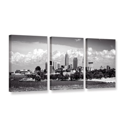 Brushstone Cleveland Panorama 1 3-pc. Gallery Wrapped Canvas Wall Art