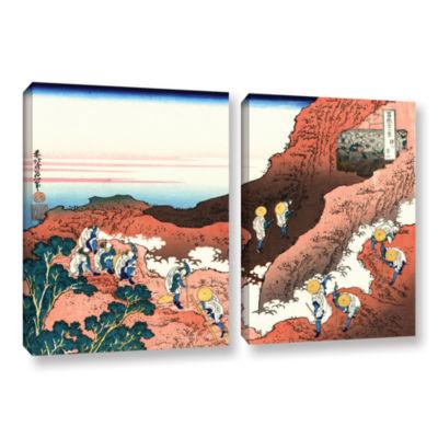 Brushstone Climbing On Mt. Fuji 2-pc. Gallery Wrapped Canvas Wall Art