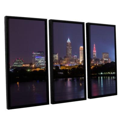 Brushstone Cleveland Skyline 10 3-pc. Floater Framed Canvas Wall Art