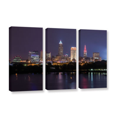 Brushstone Cleveland Skyline 10 3-pc. Gallery Wrapped Canvas Wall Art