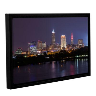 Brushstone Cleveland Skyline 10 Gallery Wrapped Floater-Framed Canvas Wall Art