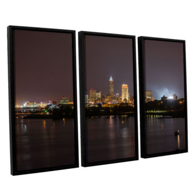 Brushstone Cleveland Skyline 11 3-pc. Floater Framed Canvas Wall Art