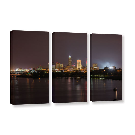 Brushstone Cleveland Skyline 11 3-pc. Gallery Wrapped Canvas Wall Art
