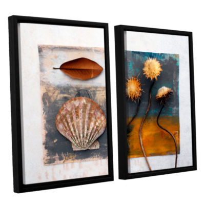 Brushstone Conch- Magnolia- Thistle 2-pc. FloaterFramed Canvas Wall Art