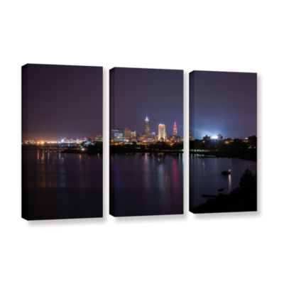 Brushstone Cleveland Skyline 12 3-pc. Gallery Wrapped Canvas Wall Art