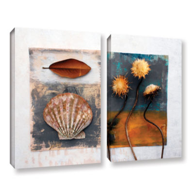 Brushstone Conch Magnolia Thistle 2-pc. Gallery Wrapped Canvas Wall Art