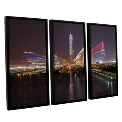 Brushstone Cleveland Skyline 13 3-pc. Floater Framed Canvas Wall Art