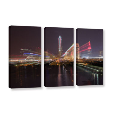 Brushstone Cleveland Skyline 13 3-pc. Gallery Wrapped Canvas Wall Art