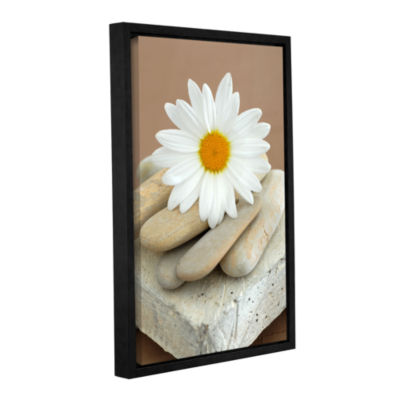 Brushstone Contemporary Design Daisy And Stones Gallery Wrapped Floater-Framed Canvas Wall Art