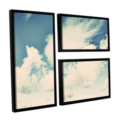 Brushstone Clouds On A Beautiful Day 3-pc. Flag Floater Framed Canvas Wall Art
