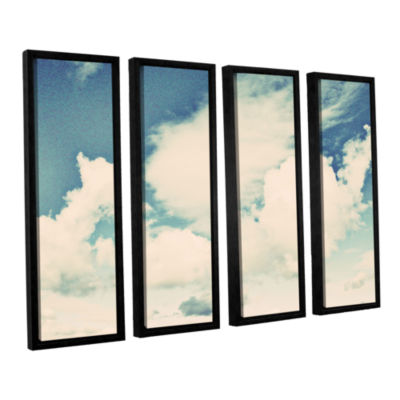 Brushstone Clouds On A Beautiful Day 4-pc. FloaterFramed Canvas Wall Art