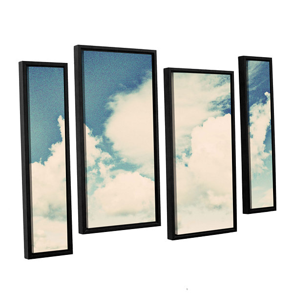 Brushstone Clouds On A Beautiful Day 4-pc. FloaterFramed Staggered Canvas Wall Art